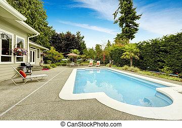 hus, verklig, pool., simning, förbunds, egendom, väg, vacker