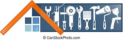hus, verktyg, symbol, reparera
