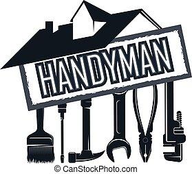 hus, verktyg, tusenkonstnär, reparera