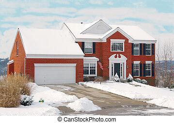 hus, vinter kulle