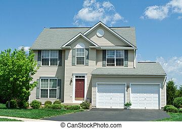hus, vinyl, forside, enlig familie, md., hjem, sidespor