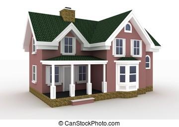 hus, vit, isolerat, 3