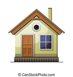 hus, vit, isolerat, bakgrund, ikon