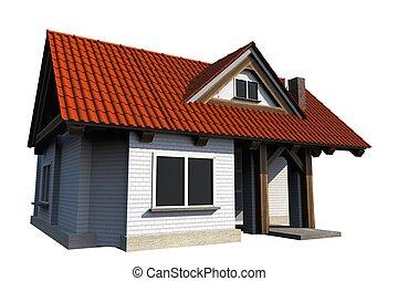 hus, vit, isolerat