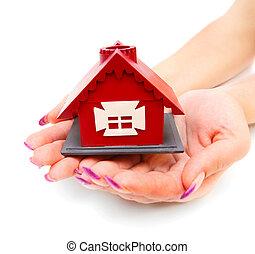 hus, vit, leksak, hands., bakgrund.