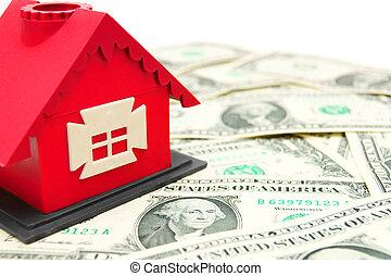 hus, vit, leksak, pengar., bakgrund.