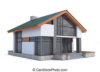 hus, vit, tredimensionell, image., bakgrund.