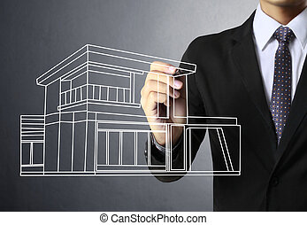 hus, whiteboard, teckning