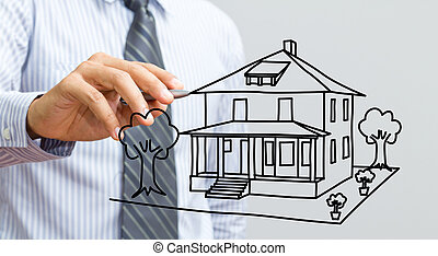 hus, whiteboard, teckning, hand