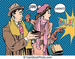 Husband and wife Christmas sales pop art retro style. The woman is a Shopaholic and a man without money in your wallet. Holiday spending finances.