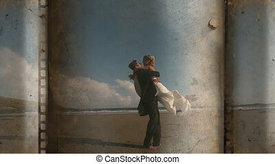 Husband and wife hugging on the beach