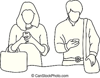 husband and wife ignoring each other while using mobile phone vector illustration outline sketch hand drawn with black lines isolated on white background. Social network problem.