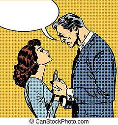 The husband and wife lovers have a serious talk love conflict pop art comics retro style Halftone. Imitation of old illustrations. Bubble for text