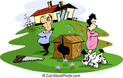 Husband and wife quarreled, illustration