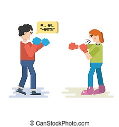 Vector flat isolated illustration of husband and wife who quarreling. Both fight in boxing gloves saying thoughtless words