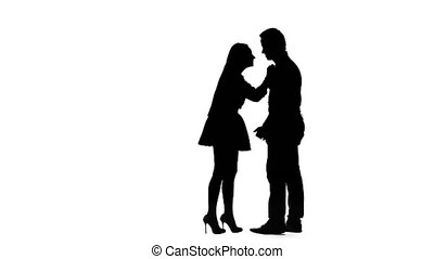Husband and wife scold themselves, he screams, she cries. Silhouette. White background