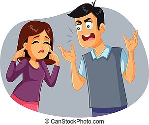 Woman  blocking communication during marital  conflict