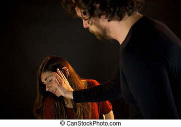Husband hitting wife domestic violence