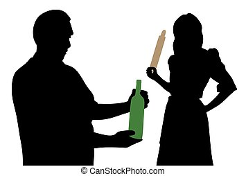 Husband looking at bottle of alcohol and angry wife holding rolling pin