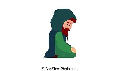 Husband of Jesus mother icon animation cartoon object on white background