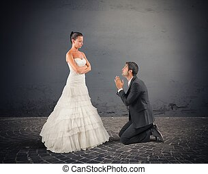 Husband pray - Wife forgives her husband at their wedding