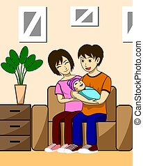 Husband, wife and children. The father is carrying the child with the mother, she is sitting beside her husband and her children. Both were sitting on the sofa in the living room of their house.