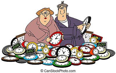 Husband & wife setting clocks - This illustration depicts a...