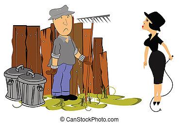 husband with demanding wife - man raking lawn and wife...