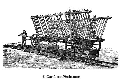 """A engraving of agricultural implements taken from an original 1897 print of """"Agricultural machinery. Atlas"""" edited by K.K.Veber"""
