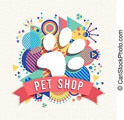 husdjuret, butik, ikon, djur, tass, med, färg, formar