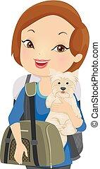 husdjuret, flicka, bärare, resa, illustration