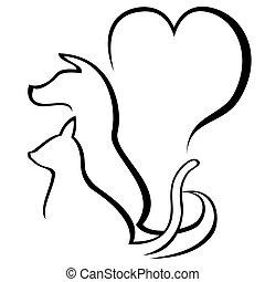 husdjuret, omsorgen, skissera, logo