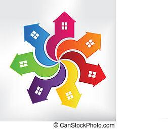 huse, moderne, logo