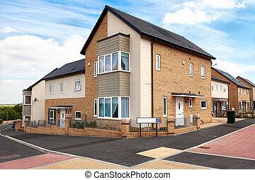 huse, på, en, typiske, engelsk, beboelses, estate