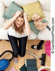 hushållsarbete, kvinna, ung, stressa