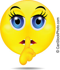 hush emoticon - vector illustration of hush emoticon