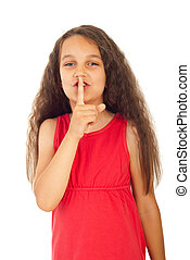 Hush!Be quiet! - Little girl gesturing to be quiet isolated...