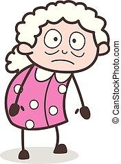 hushed, イラスト, 顔, 祖母, ベクトル, 表現, 漫画