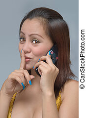 Hushing girl with cellphone - Classy eighteen year old ...