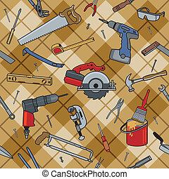 husholdning, redskaberne, plaid