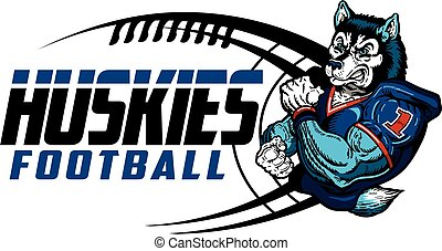 huskies football team design with mascot for school, college...