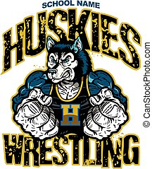 huskies wrestling team design with muscular mascot for school, college or league