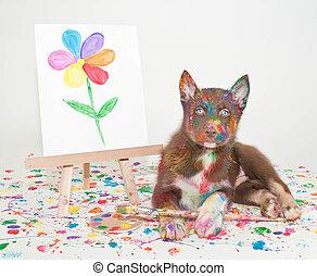 Husky Artist - Silly little Husky puppy that looks like she ...
