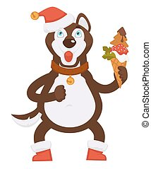 Husky dog in collar and Christmas hat holds ice cream
