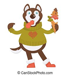 Husky dog in knitted sweater with heart holds ice cream