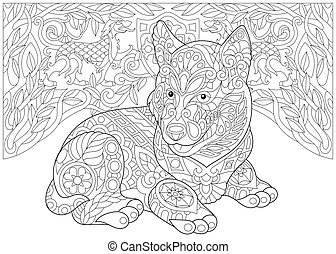 husky, héraldique, sibérien, chiens