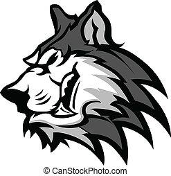 Husky Dog Head Graphic Team Mascot Vector Image