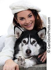 husky, mulher, cão, dela, retrato