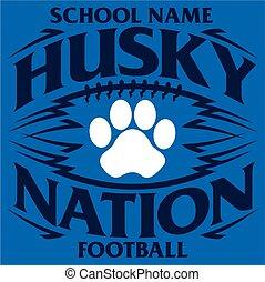 husky, voetbal, natie
