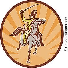 Hussar lighthorseman cavalry charging with sword -...